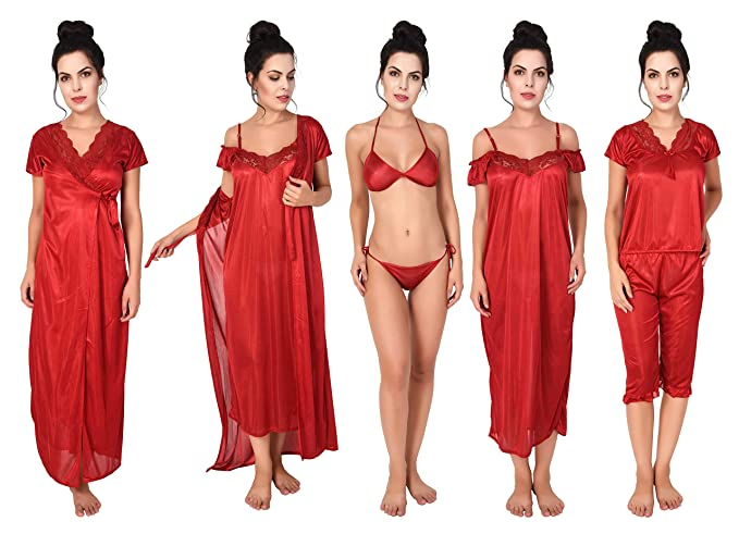 6af9cee15c Freely Women s Honeymoon Satin Nighty Set - Pack of 6  Amazon.in ...