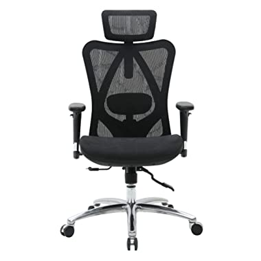 Sihoo Ergonomic Office Chair, Computer Desk Chair, 3D Adjustable High-Back, Breathable Skin-Friendly Mesh with Armrest, Lumbar Support (Black)