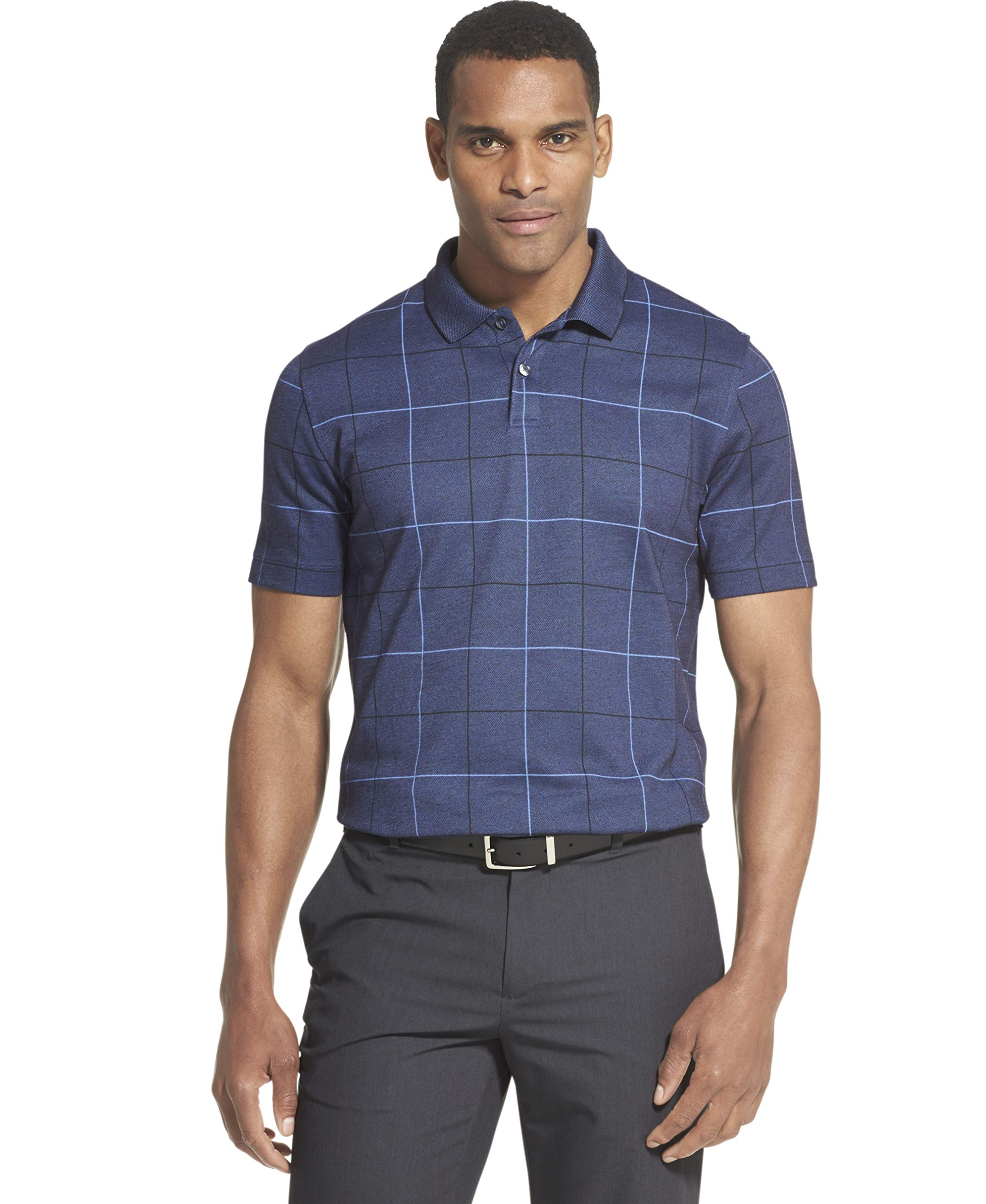 Van Heusen Men's Big and Tall Flex Short Sleeve Stretch Windowpane Polo Shirt, Blue Underground, 2X-Large