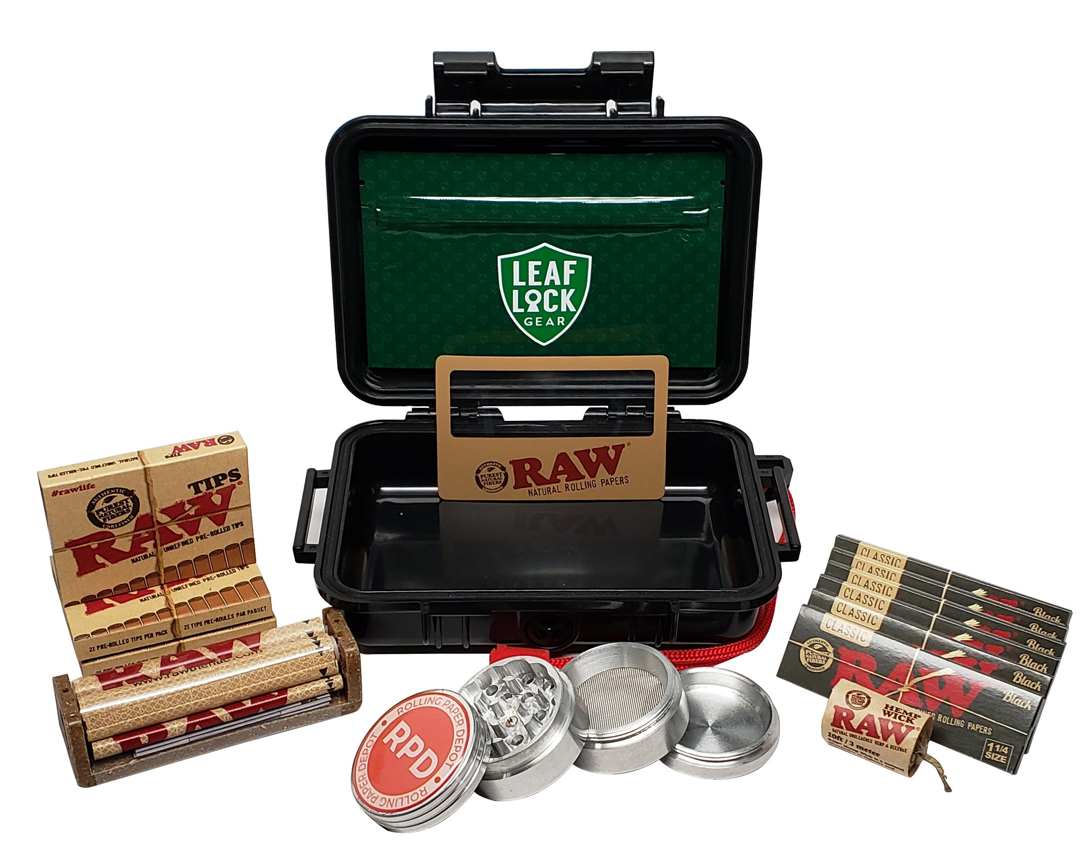 RAW Black Rolling Papers 1 1/4 (6 Packs), Pre Rolled Tips (3 Packs), Roller, Hemp Wick, Magnifier Card with RPD Grinder, Leaf Lock Gear Airtight Carrying Case and Smell Proof Pouch - Bundle - 15 Items by RAW, Leaf Lock Gear