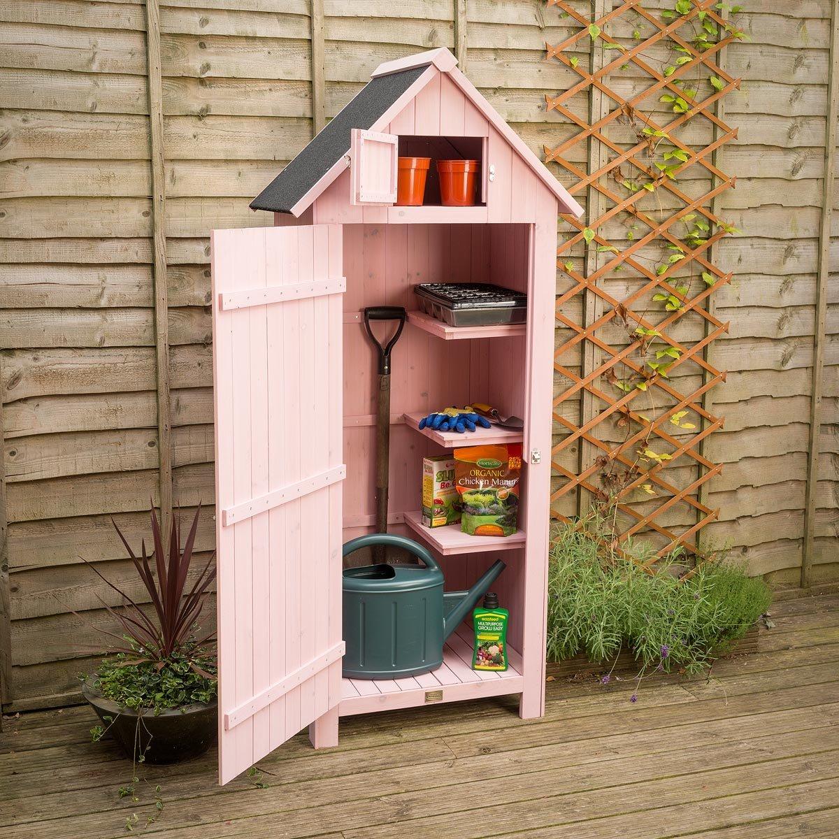 Christow Slim Garden Shed Wood Outdoor Storage Sentry Box Lockable Door