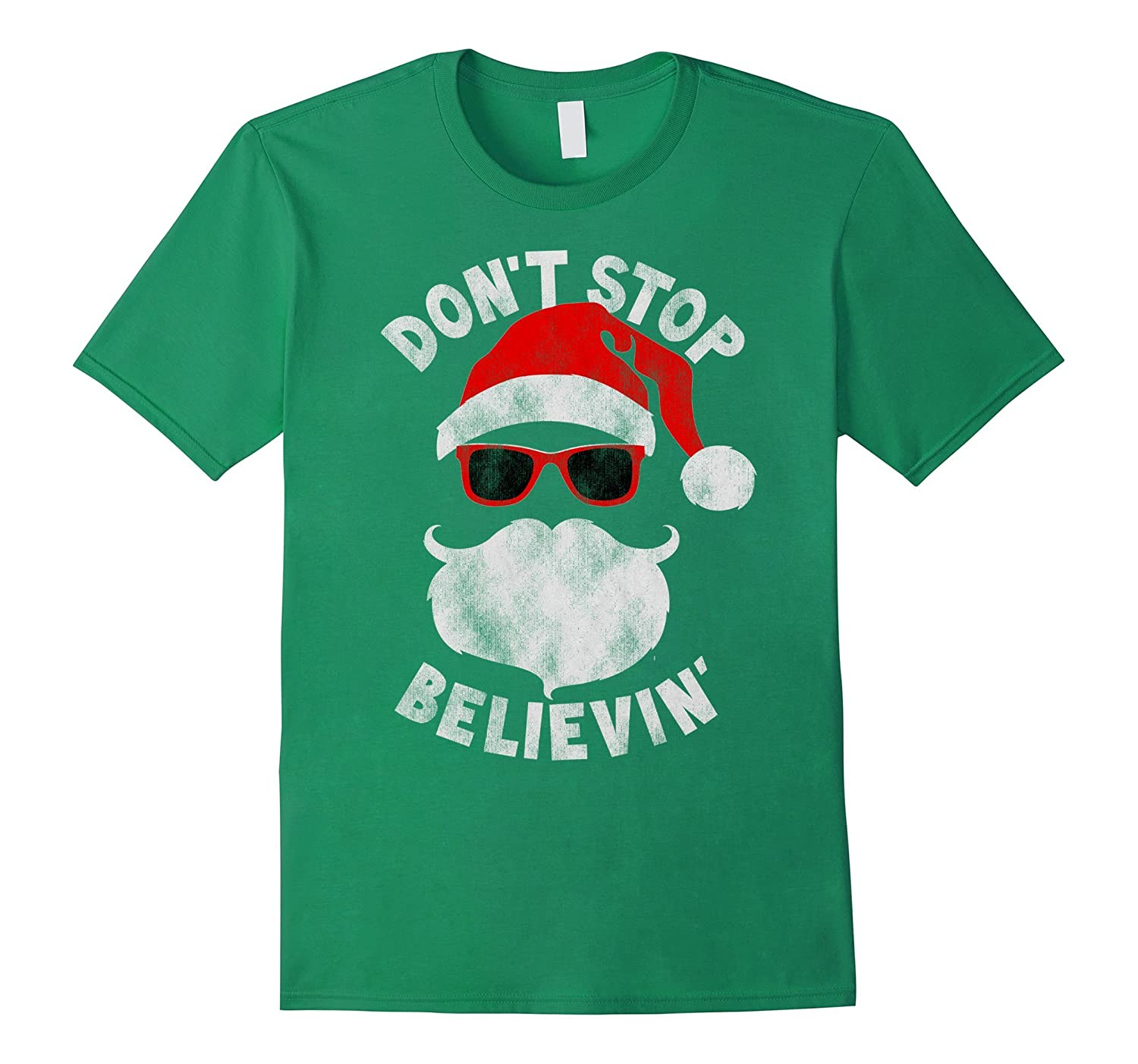 Don't Stop Believing Cool Shades Santa Christmas T-Shirt-ANZ