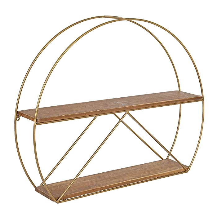 "Kate and Laurel Delmar Mid-Century Modern Wall Shelf, 26"" x 21"", Brown and Gold, Glamorous Geometric Wall Decor"