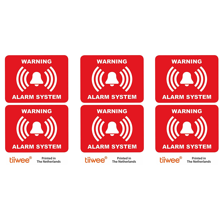 tiiwee Home Security Alarm Aufkleber - Rot - Doppelter UV-Schutz - Extra laminiert - Grö ß e 60mm x 45mm - Auß enbereich - Set von 6 Etiketten