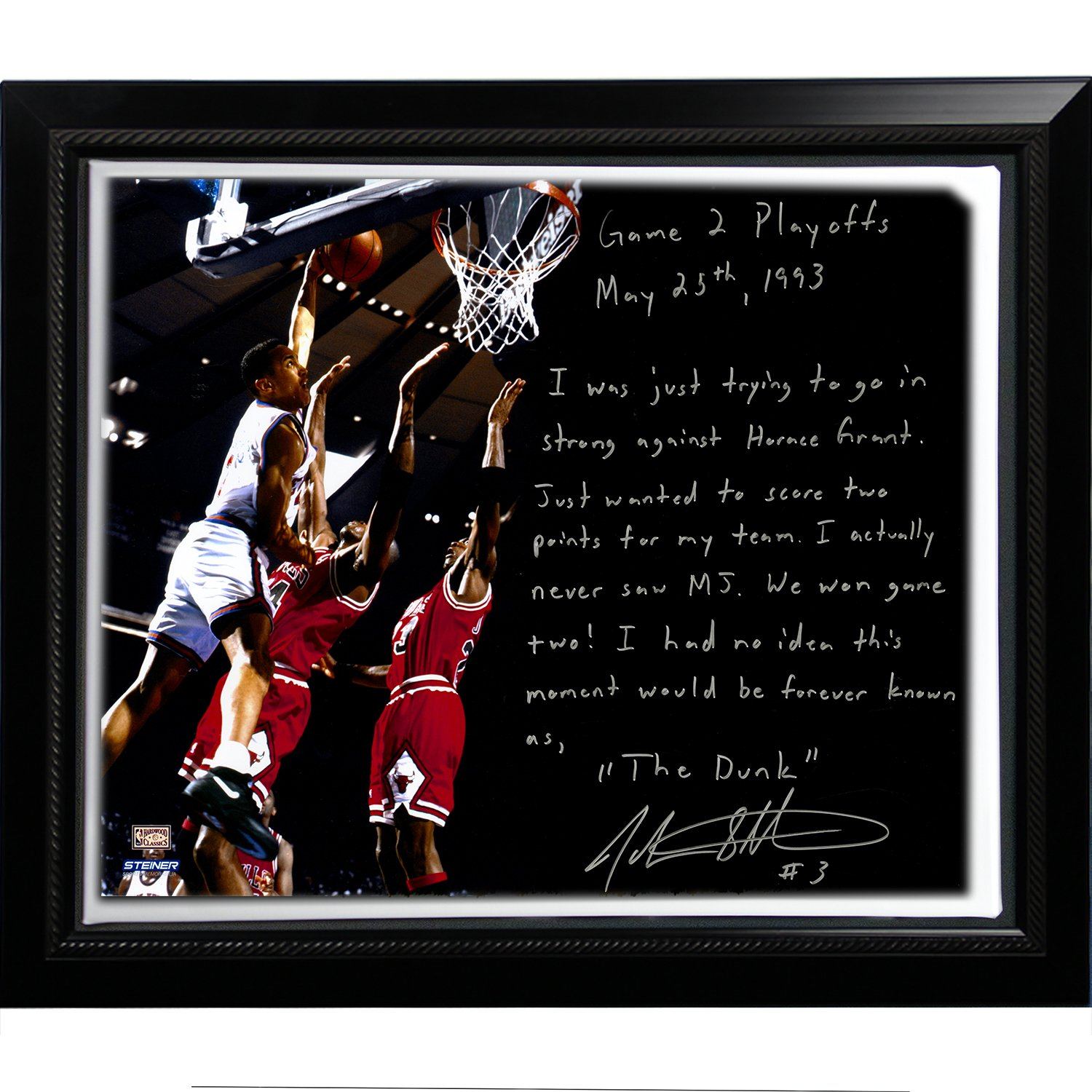 NBA New York Knicks Framed 22x26 John Starks Facsimile 'Game 2 Dunk Over Jordan' Story Stretched Canvas