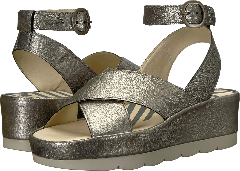 Lead Borgogna Fly London Womens Bite 850 Leather Sandals