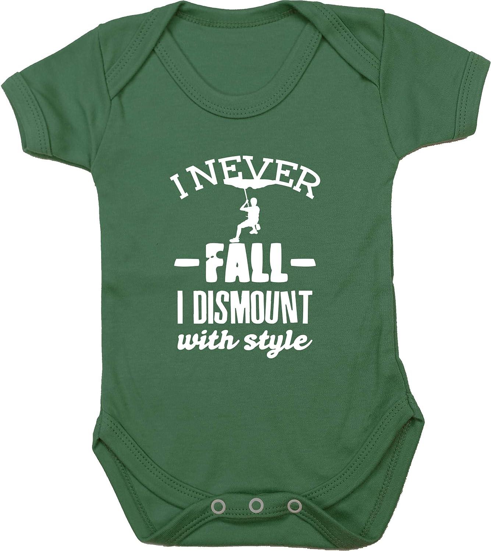 Short Sleeve Rock Climb Baby Vest Bodysuit Boys Girls Hippowarehouse I Never Fall Off I Dismount with Style