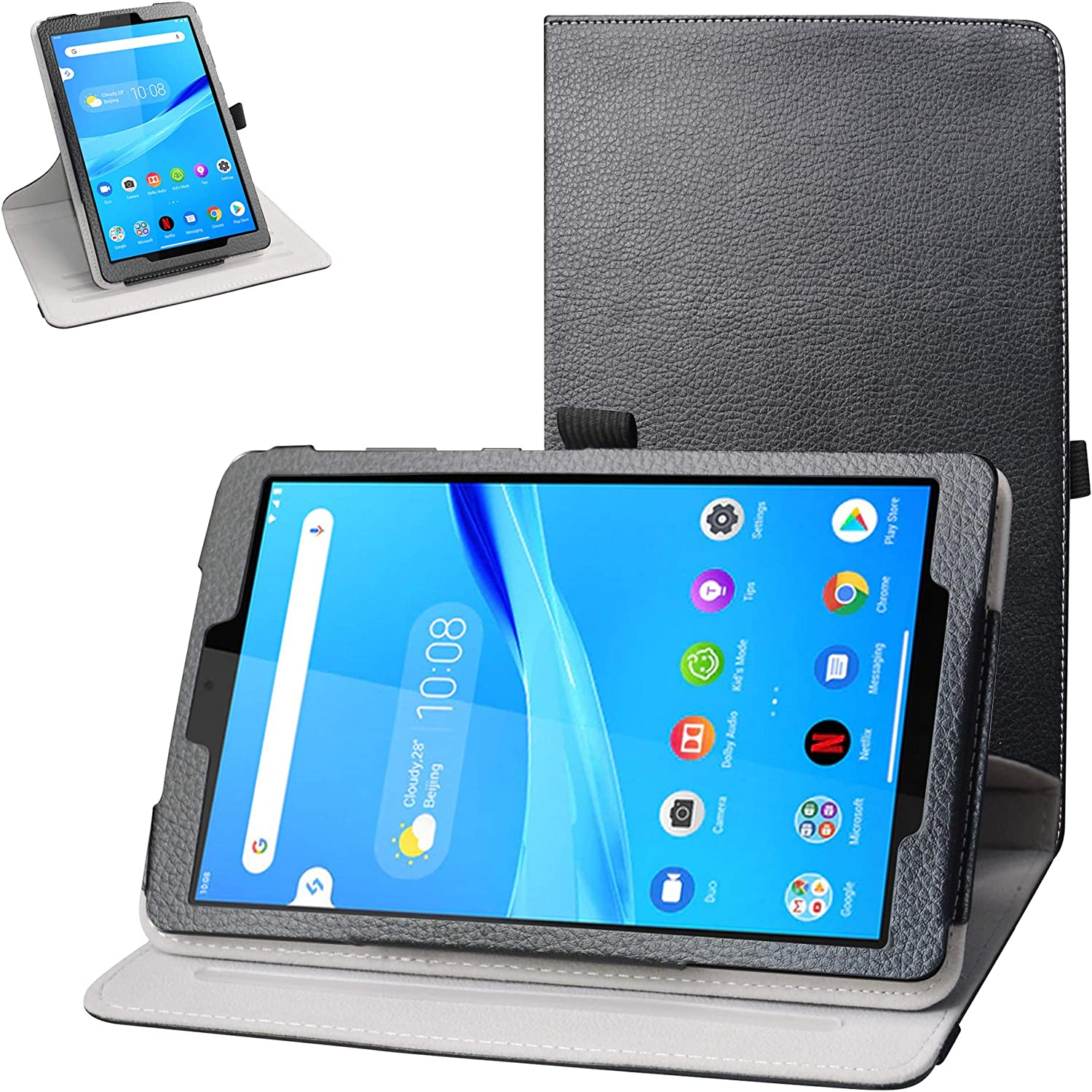 Bige for Lenovo Tab M8 FHD Rotating Case,360 Degree Rotary Stand with Cute Pattern Cover for 8