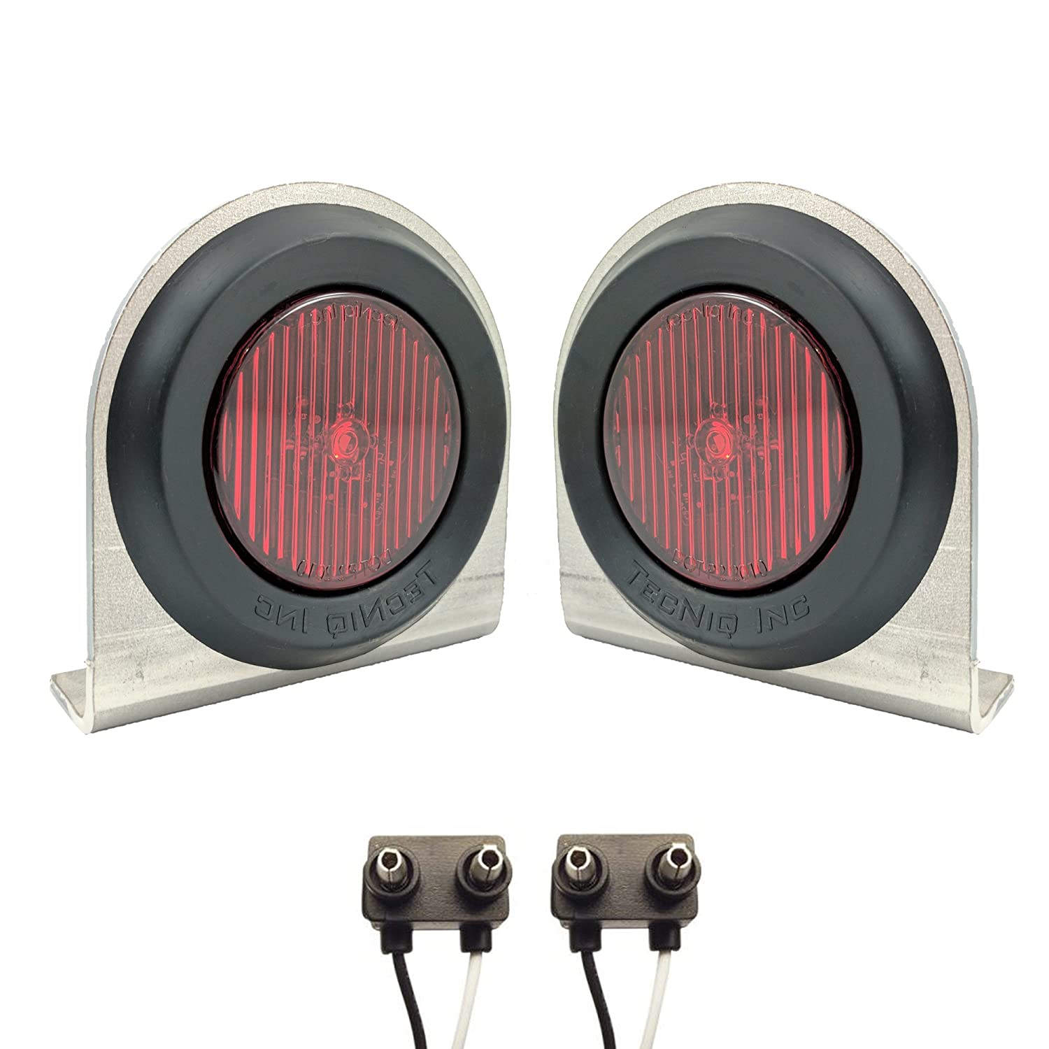 Pair of LED Low-Profile 2.5' RED Side Markers - LED Light Kit w/ Steel Mounting Brackets, Wire Plugs, & Grommets - LED Trailer Truck RV Lights (2.5' Round LED, Red) & Grommets - LED Trailer Truck RV Lights (2.5 Round LED TecNiq Inc S10