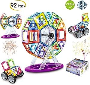 Minetom Magnetic Blocks, 92 Pieces Magnetic Building Tiles Set, STEM Educational Magnet Stacking Toys for Kids Toddlers Childrens