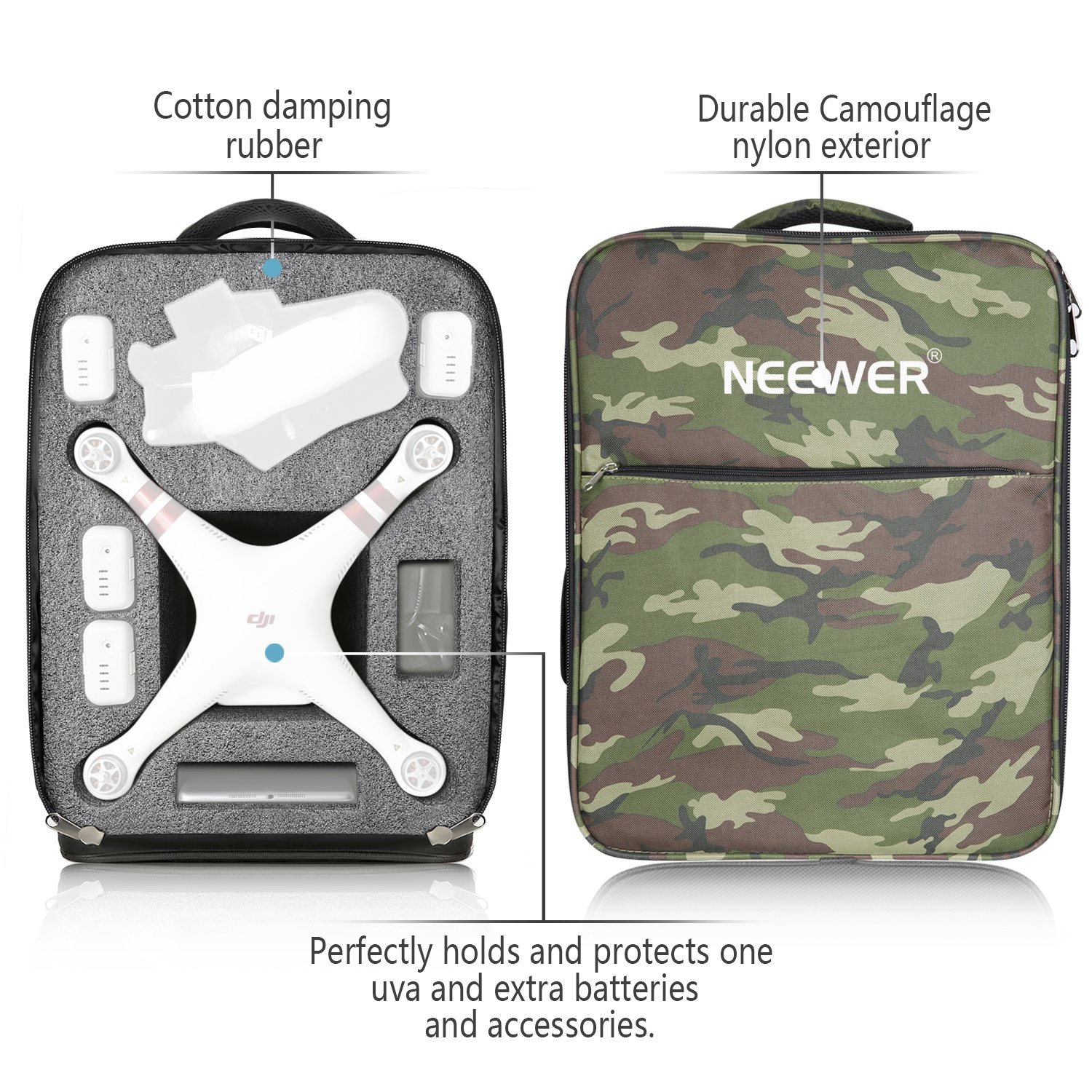 Neewer Multi-Function Waterproof Backpack Bag Case for DJI Phantom 1 FC40 2 2 Vision 2 Vision+ 3, DJI 3 Professional, Advanced, Standard, 4K Cameras and Accessories(Camouflage) by Neewer (Image #4)