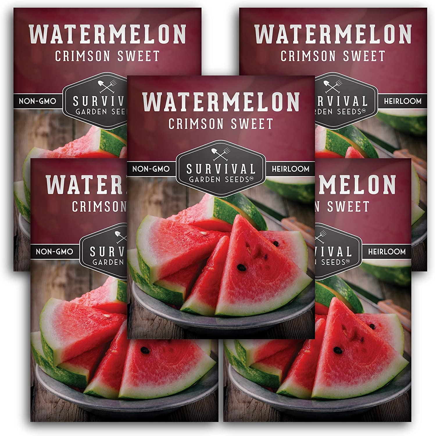 Survival Garden Seeds - Crimson Sweet Watermelon Seed for Planting - 5 Packets with Instructions to Plant and Grow in Your Home Vegetable Garden - Non-GMO Heirloom Variety