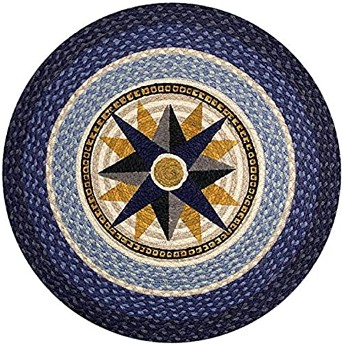 Earth Rugs Round Rug, 27 , Dark Blue Light Blue Cr me