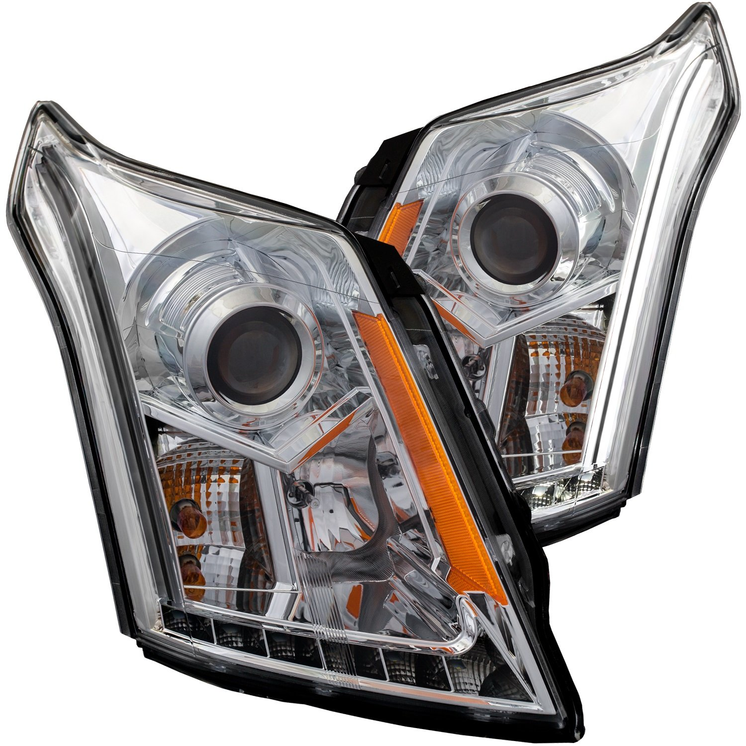 AnzoUSA 111308 Black//Clear//Amber Plank Style Projector Headlight for Cadillac SRX