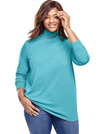 bb2054a270 Woman Within Women's Plus Size Perfect Long Sleeve Turtleneck