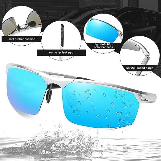 Gafas de sol de marco polarizadas gafas de sol estilo deportivo Duco para hombre 8550 (Plata-Azul): Amazon.es: Ropa y accesorios