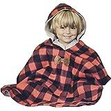 Kids Car Seat Poncho Toddler Boy Blanket Lumberjack Deer Reversible Warm Safe Use OVER Seat Belts Buffalo Plaid