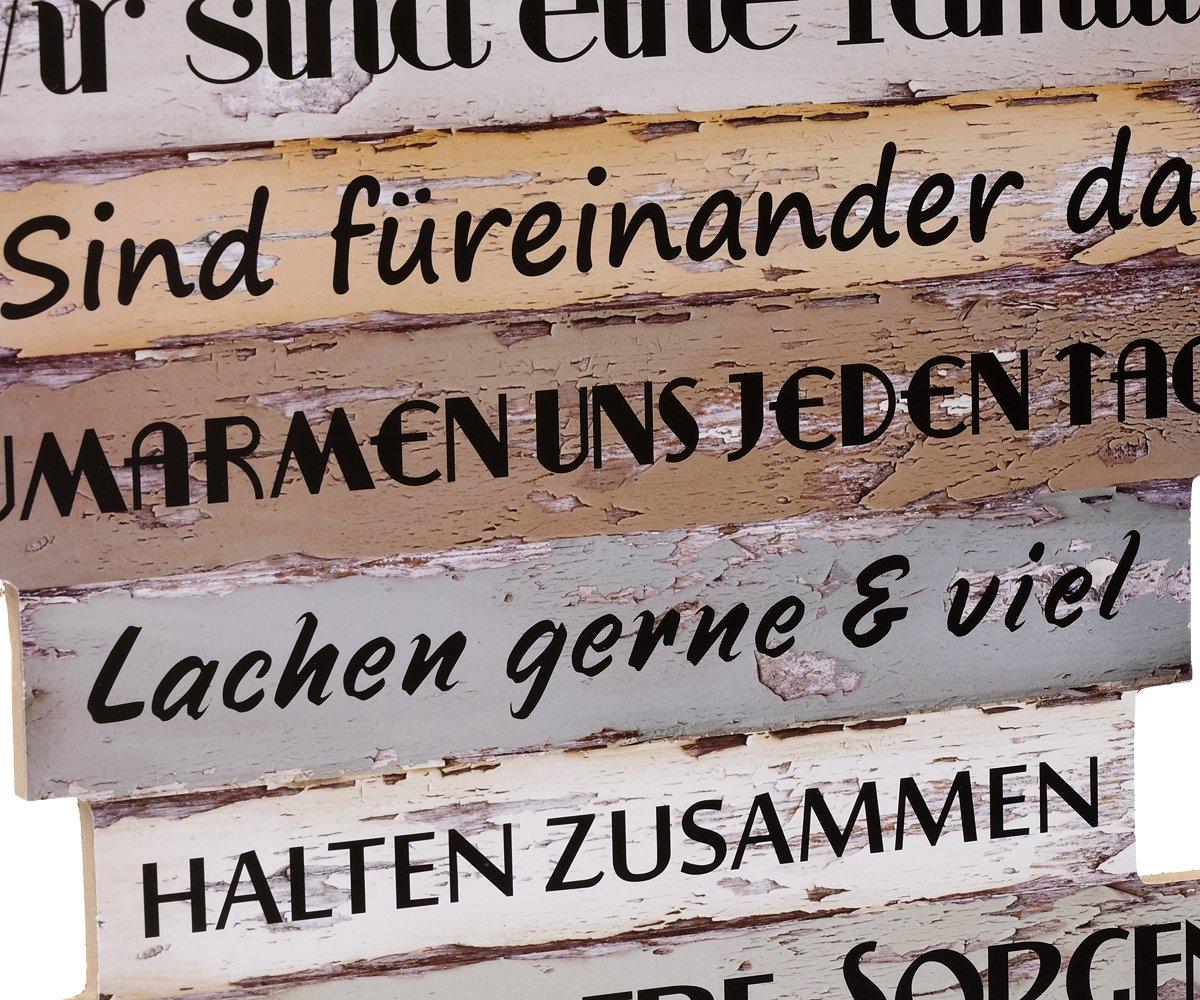 Wandbild Dekoschild Familienregeln Holz Bild Deko Sprüche