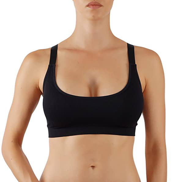 Womens Yoga Top Solid-Colored Racerback Sports Bra Looks Simply Scoop Neck