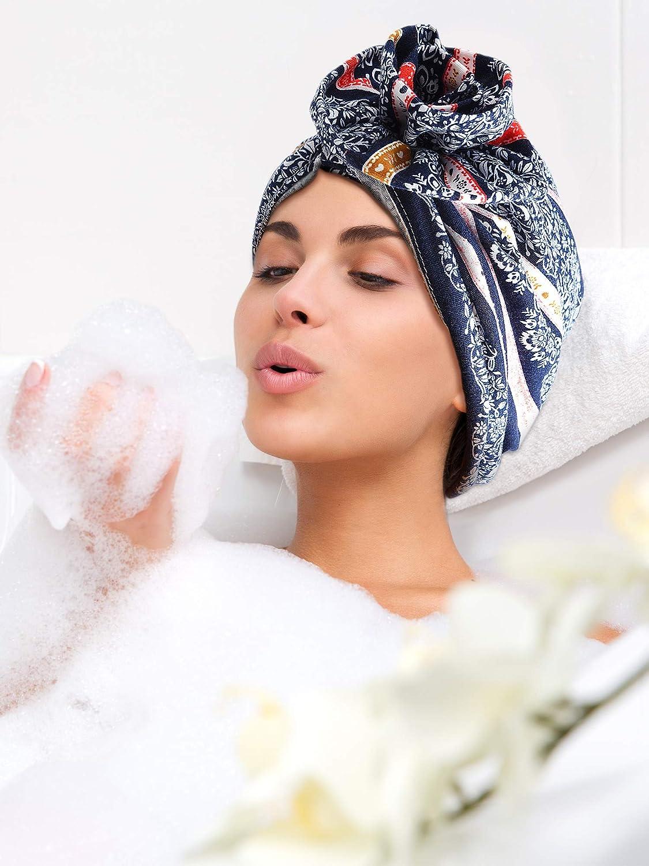 3 Pieces Women Cotton Sleep Cap Turban Night Cap Flower Pattern Head Wrap Turban Cap for Women Girls