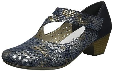 41746, Zapatos de Tacón Para Mujer, Azul (Blau-Metallic/Pazifik/90), 40 EU Rieker