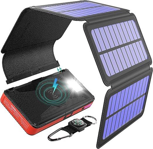 BLAVOR Cargador Solar Inalámbrico 20000mah, Batería Externa Banco de Energía Portátil 5 Paneles Solares Desmontable con Salida Doble Tipo C Entrada ...