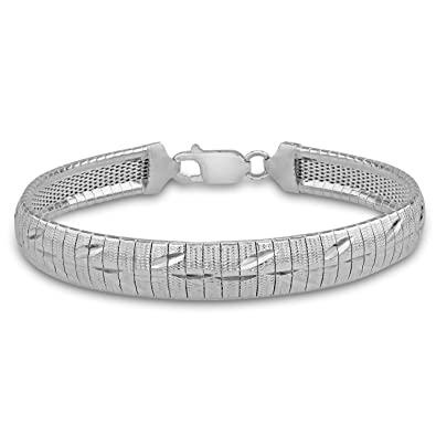 Tuscany Silver Sterling Silver Patterned and Polished Six Strand Plaited Herringbone Bracelet rwBW1sWG