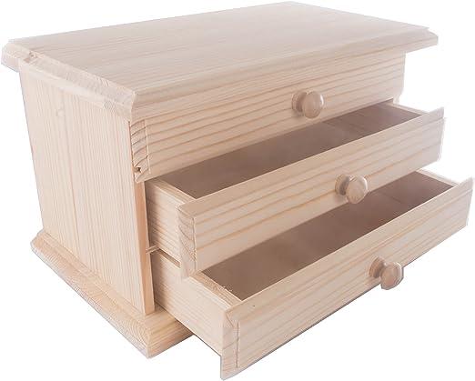 De madera Mini tocador/joyas caja/caja de madera con cajones y ...