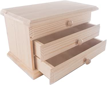 De madera Mini tocador/joyas caja/caja de madera con cajones y espejo/25 x 15 x 15 cm): Amazon.es: Hogar