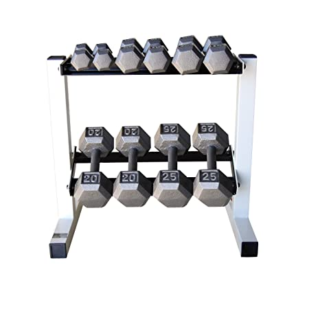 CAP Barbell Solid Hex Dumbbell Set with Rack 150 Pound
