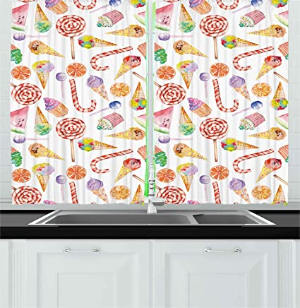 Ambesonne Colorful Kitchen Curtains, Ice Cream Candy Cakes Lollipop  Clementine Fruits Cute Birthday Celebration Pattern, Window Drapes 2 Panels  Set ...