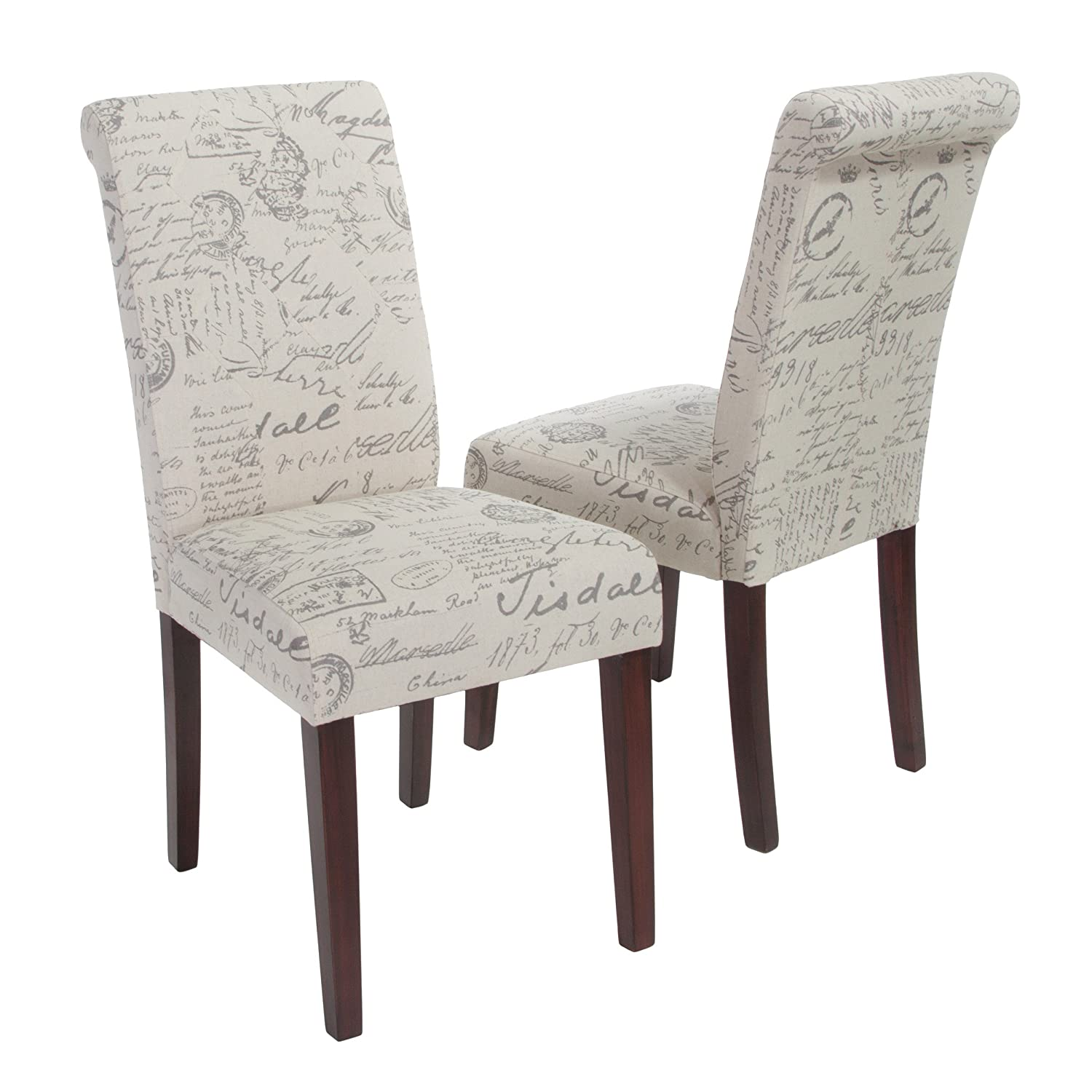d711e437074 Amazon.com - Best-selling Finland Beige Printed Linen Dining Chair ...