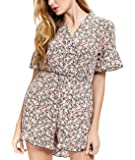Abollria Casual Romper Jumpsuit Shorts for Women Short Sleeve V Neck Floral Print Tie Waist Summer Beachwear …