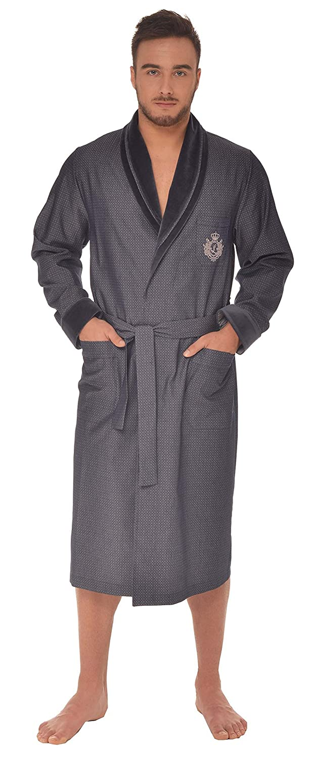 LEVERIE Men's Shawl Collar Long Sleeve Dressing Gown
