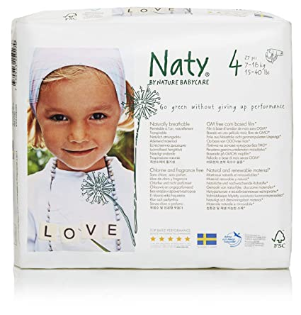 Naty By Nature Babycare - Pañales desechables. talla 4 (15-40 Lbs/