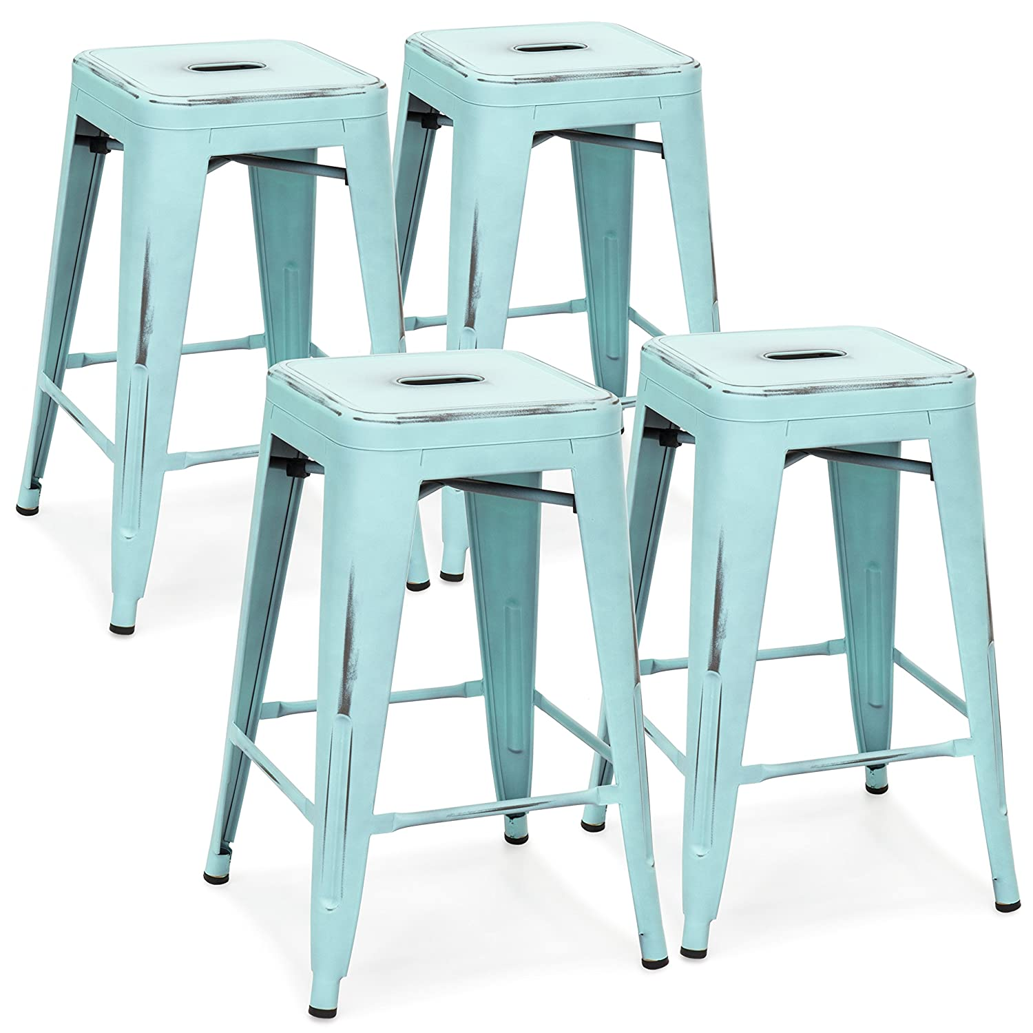 Best Choice Products 24in Set of 4 Stackable Modern Industrial Distressed Metal Counter Height Bar Stools – Blue
