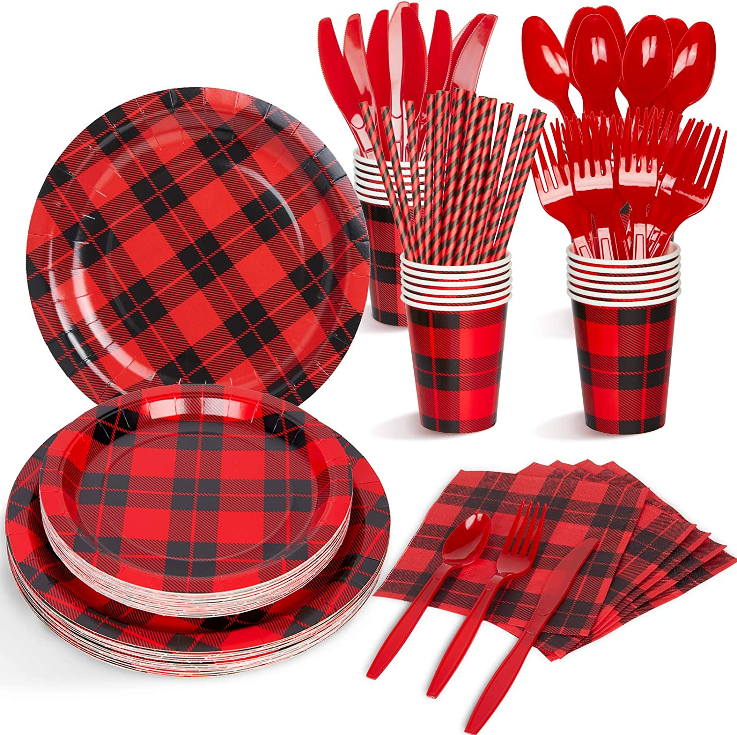 Decorlife 225PCS Buffalo Plaid Party Supplies, Lumberjack Party Plates and Napkins Set, 25 Guests, 50PCS Napkins, Birthday Party Plates, Cups, Straws, Knives, Forks and Spoons