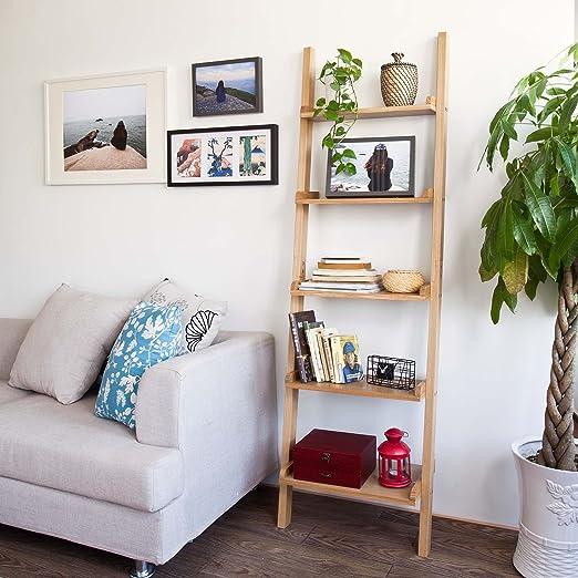 SoBuy® Moderno Escalera estantería con Cinco Pisos, Soporte de Madera Estante, Estante de Pared, 56 x 189 cm, Naturaleza, FRG17-N: Amazon.es: Hogar