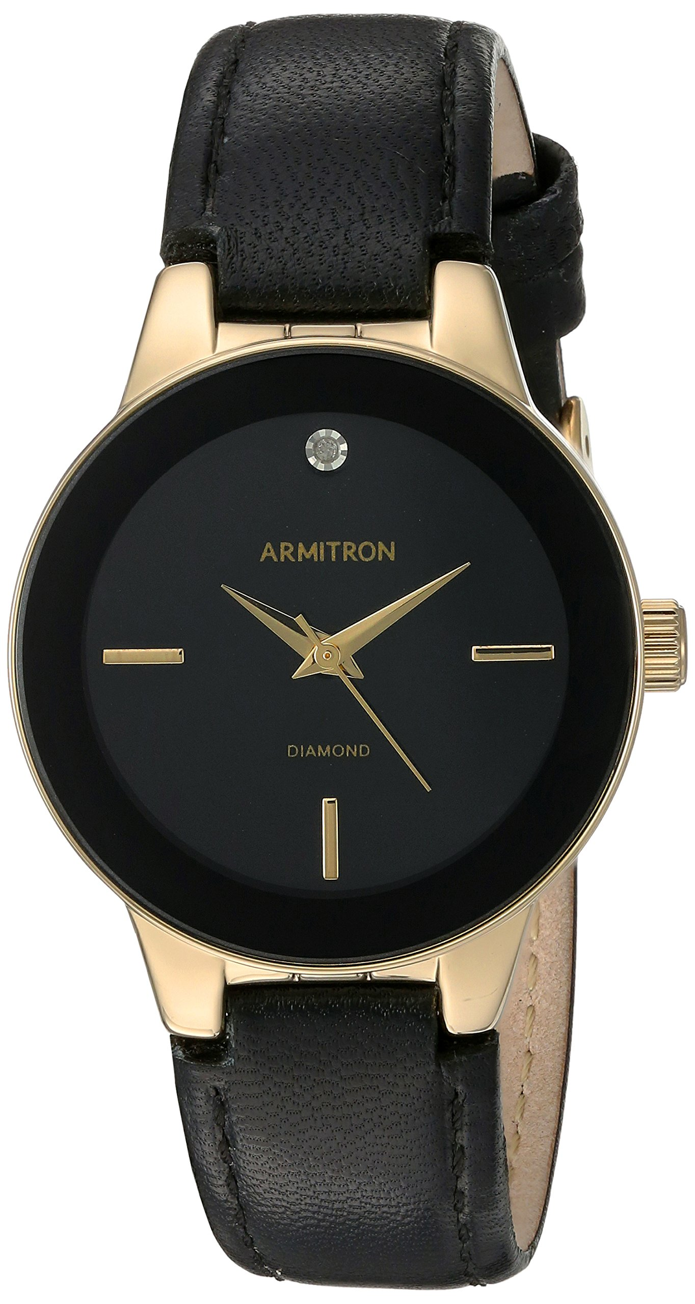 Armitron Women's 75/5410BKGPBK Diamond-Accented Gold-Tone and Black Leather Strap Watch