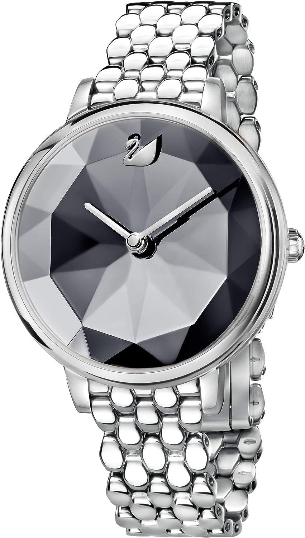Swarovski Reloj Crystal Lake, brazalete de metal, cristal gris oscuro, acero inoxidable, para mujer