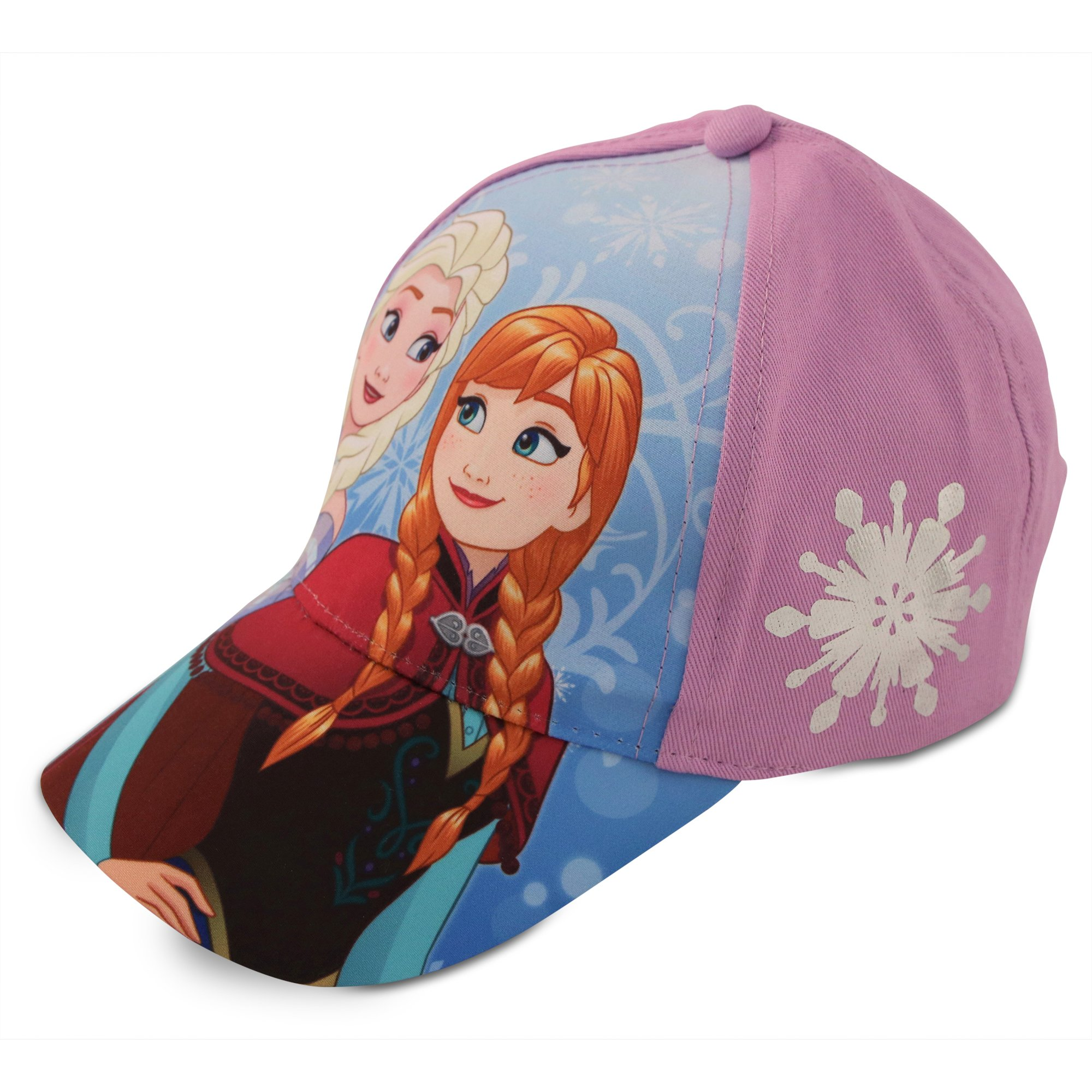Disney Little Girls Frozen Assorted Character Cotton Baseball Cap, Age 2-7 (Toddler Girls - Age 2-4 - 51CM, Purple/Blue Elsa and Anna Design)