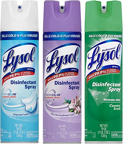 Amazon.com: A World Of Deals Lysol Disinfectant Spray, Crisp Linen, Morning  Breeze, Country Scent, 19 oz: Arts, Crafts & Sewing
