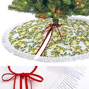 ODOKAY Apples Pattern Christmas Tree Skirt for Indoor Outdoor Holiday Decor Tassel Trim Ornament Xmas Tree Skirts