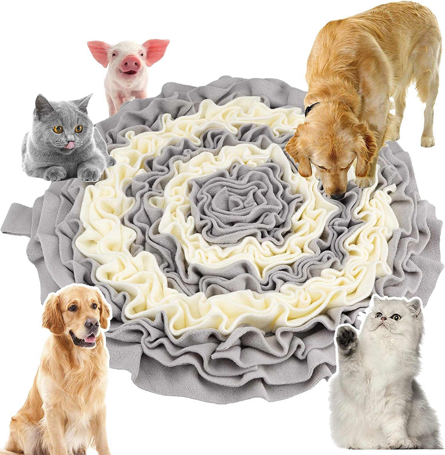 Routesun Snuffle Mat for Dogs Cats - Wooly Feeding Mat Pet, Encourages Natural Foraging Skills for Small Large Dogs Slow Feeder Puzzle Toy, Easy to Fill, Durable and Machine Washable