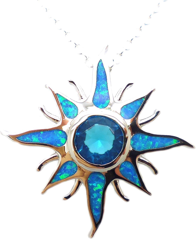 Tanglz - Colgante con cadena de ópalo de fuego azul, cuarzo azul y plata maciza 925/1000, piedra natural para armonizar la energía.
