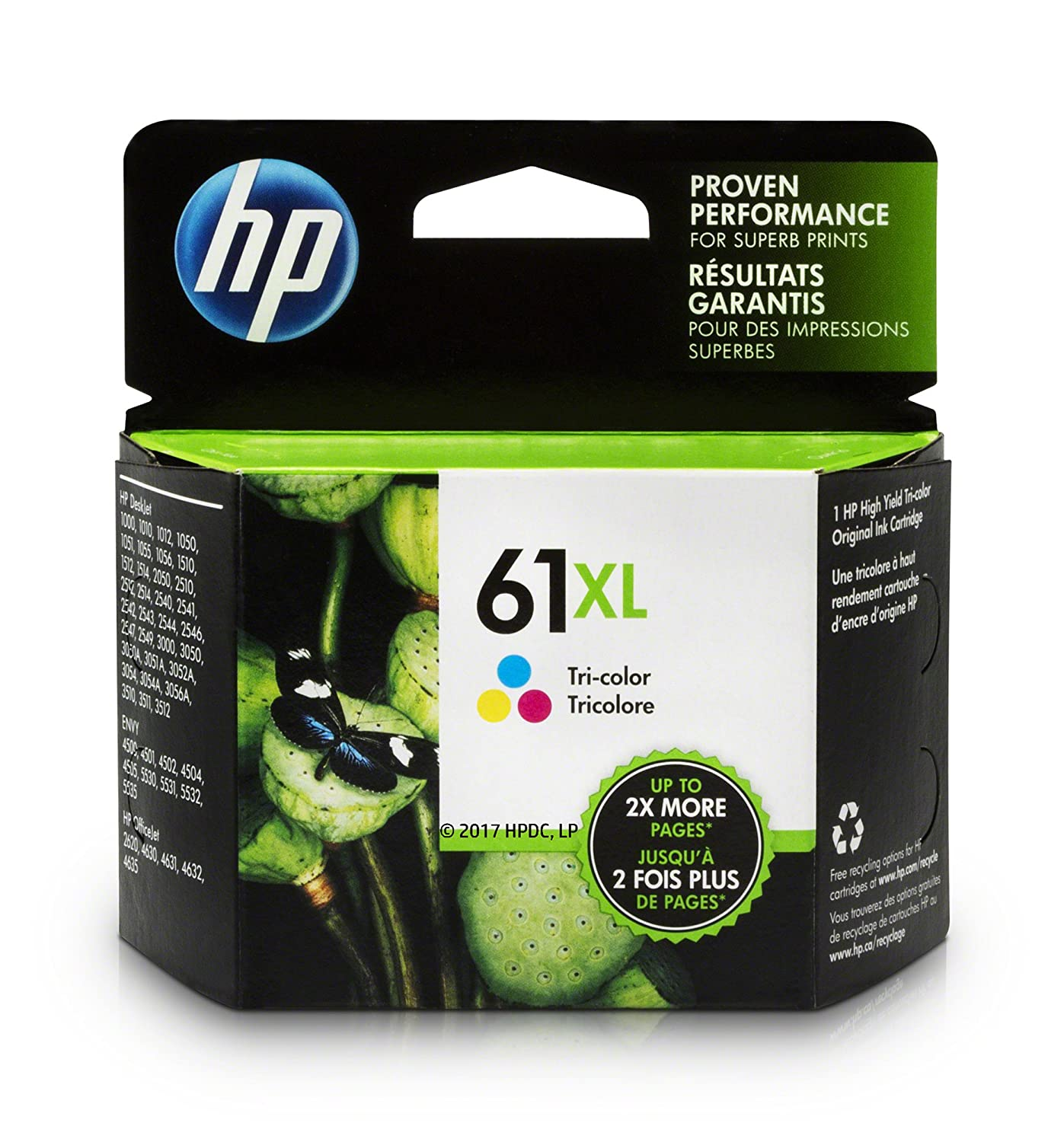 amazon com hp 61xl ink cartridge tri color high yield ch564wn