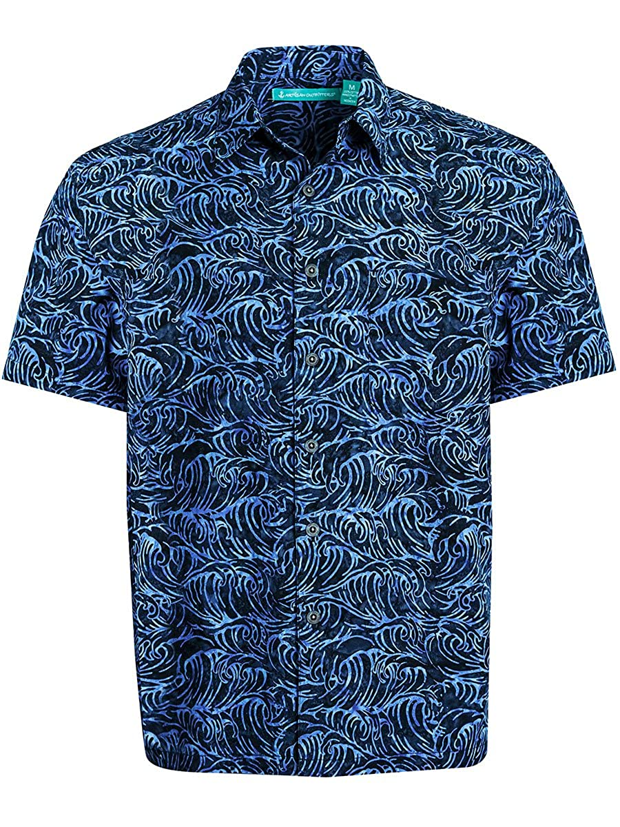 0e3e6516f2bd8 Artisan Outfitters Mens Santa Monica Batik Cotton Hawaiian Shirt