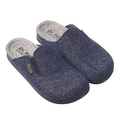 bd04835ca65 FEET Unisex Natural Wool Felt Lightweight Open Back Rubber Sole Slipper