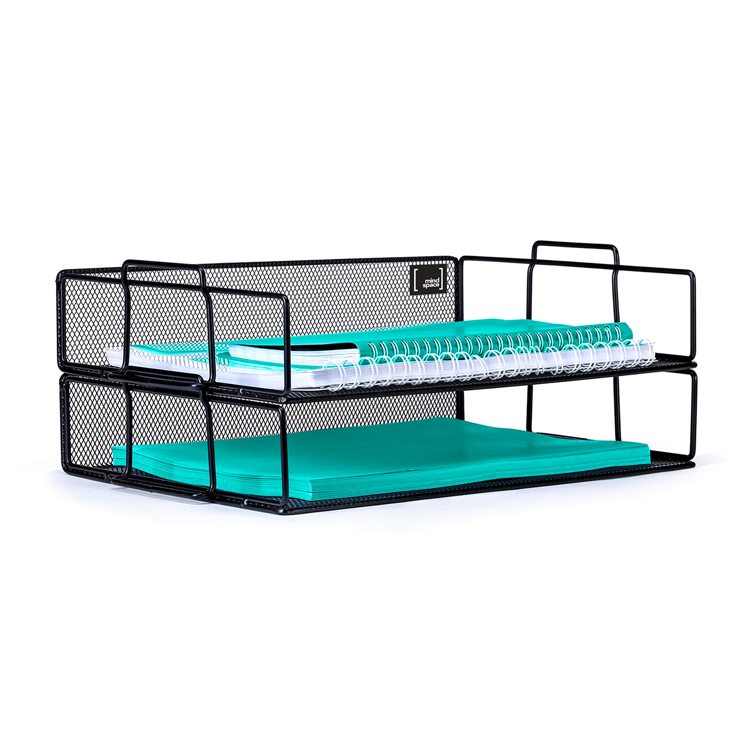 Mindspace 2 Tier Stackable Letter Tray Desk Organizer | Stackable Paper Tray Organizer | The Mesh Collection, Black by Mindspace