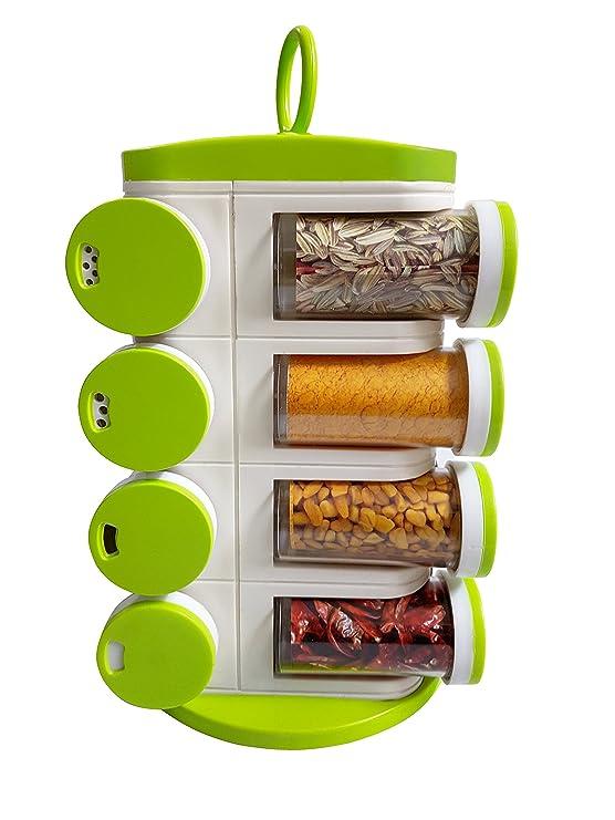 Jony Plastic Multipurpose Revolving Spice Rack with 16 Piece Condiment Set  Green, 2  Spice Racks